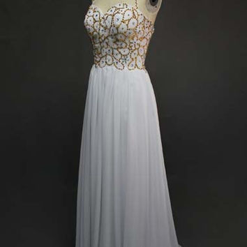 Halter Top White Prom Dress A Line Sequined Chiffon Long Formal Gown Women Maxi Dress Customized Size