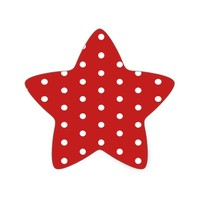 white_polka_dot_red_background pattern retro style star sticker