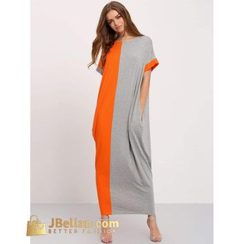 Jbellan Color Block Pockets Maxi Dress