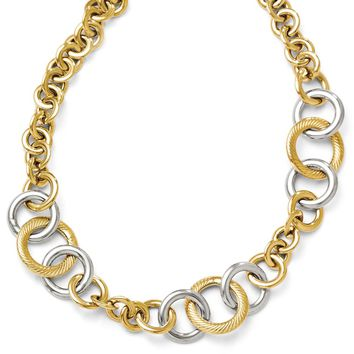 14k Yellow & White Gold 16mm Hollow Circle Link Necklace, 17 Inch