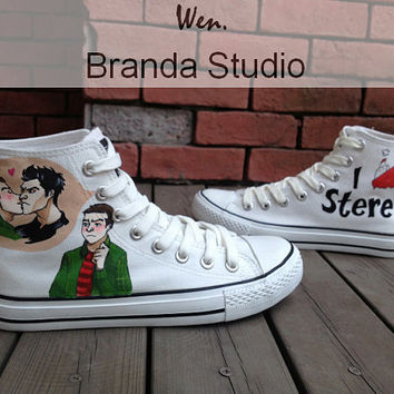 Teen Wolf Studio Fans Hand Painted High Top Canvas Shoes 55.99 Usd,Paint On Custom Converse Shoes Only 95Usd,Buy One Get One Phone Case Free