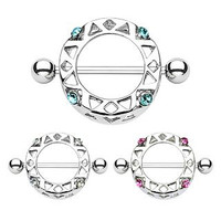 Pair of 14g Aztec Shield with 4 Clear Gems - Dangle Nipple Bar Shield Ring Barbell