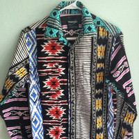 crazy colorful navajo button down/ western button down/ wrangler cowboy shirt