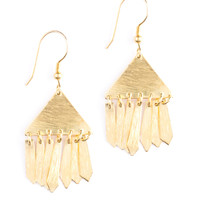 Triangle Fringe Earrings Gold