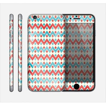 The Vintage Red & Blue Chevron Pattern Skin for the Apple iPhone 6