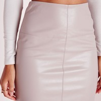 Missguided - Petite Faux Leather Mini Skirt Grey