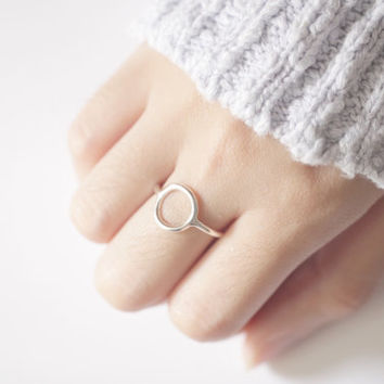 Karma Ring, Circle Ring, Geometric Ring, Round Ring, Simple Ring, Stackable Ring, Karma Jewelry, Silver Circle Ring, Open Circle Ring