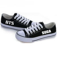 BTS Shoes Women Canvas Flat Shoes Unisex 2017 New Arrivals KPOP BTS All Members Ladies Flats Free Shipping