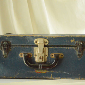 Vintage Blue and Black Skate Suitcase