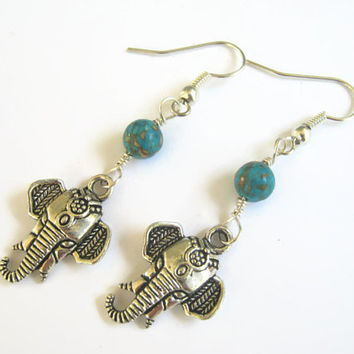 Elephant Earrings, Composite Turquoise Earrings, India Hindu Jewelry, Buddhist Earrings, Boho Earrings, Yoga, Blue & Silver