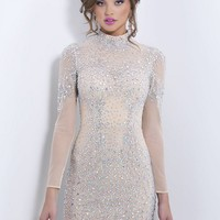 Blush C171 High Collar Long Sleeve Nude Mesh Gemstones Mini Dress - Fitted Dress - Embellished Nude Bodycon Dress with Long Sheer Sleeves