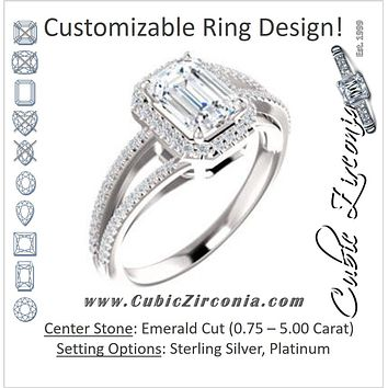 Cubic Zirconia Engagement Ring- The Claudette (Customizable Emerald Cut Vintage Design with Halo Style and Asymmetrical Split-Pavé Band)