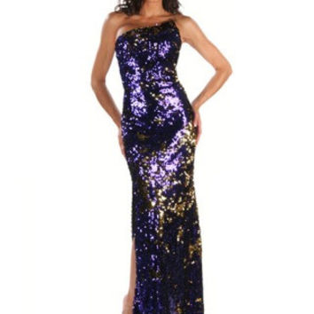 Gold/Purple 2-Tone Sequin Gown