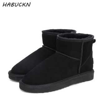HABUCKN real leather short ankle suede  snow boots for women wool fur lined winter shoes with snow boots red brown black