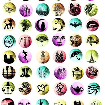assorted silhouette clip art image graphics 1 inch circles digital download collage sheet animals, people,fashion etc..
