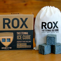 "ROX | The Eternal Ice Cube - Beverage Chilling Stones for Wine/Spirits/Beer/Coffee & more! Eight Large 1"" Soapstone Cubes (Whisky Stones)"