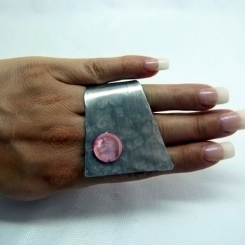 Hot pink MOP , modernist mother of pearl in hot pink , statement , high fashion ring , adjustable , art ring , abstract jewelry
