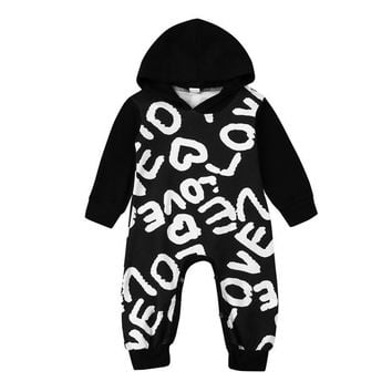 Toddler Baby Boys Girls Love Letter Print Clothes spring Hoodie Romper Jumpsuit Hooded Outfits Newborn Kids Clothes