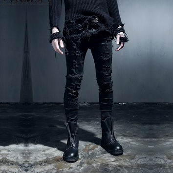 Winter Club Strong Character Slim Ripped Holes Baggy Jeans Men Jeans [6528880451]