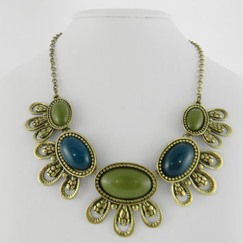 Statement Necklace VINTAGE Style Chunky Olive Green & Teal Blue Bubble BIB Anthropologie Inspired Necklace - Gift -
