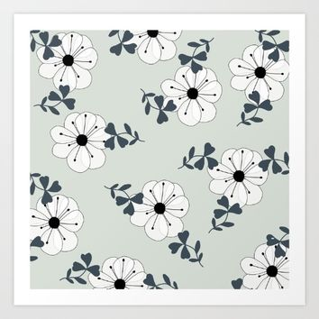 Delicate Flowers Pattern Art Print by oursunnycdays
