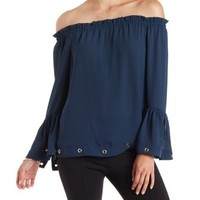 Navy Grommet-Trim Off-the-Shoulder Top by Charlotte Russe