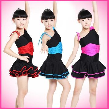 Children's Dancewear Performance Costumes Gymnastics Tap Dance Ball Gown Dress Leotard Skate Girls Latin Dresses