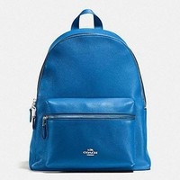CHEN1ER New Authentic Coach F38288 Charlie Leather Backpack Double Shoulder Bag Lapis Blue