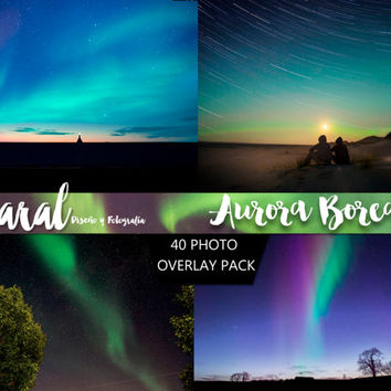 AURORA BOREALIS Photoshop Overlays, Photoshop overlay,  backdrop background, night sky overlay, northern lights photo layer