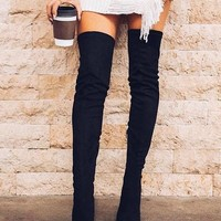 New Black Point Toe Stiletto Fashion Over-The-Knee Boots