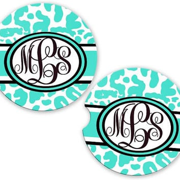 Personalized Monogrammed Car Coasters Mint Leopard Cheetah, Cup Holder Coaster, Monogram Gift, Gift for Her Sandstone Coaster