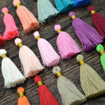 Jewelry Tassels, 2pcs,  Cotton Tassels,  2.5 inch, Decorative tassels, Mala Tassel, Gold Binding, Choose, The Colors and Quantity -CS588