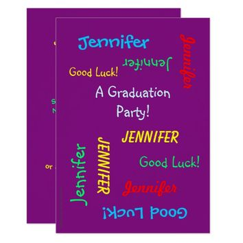 Graduation Party Invitation, Personalized, Purple Card