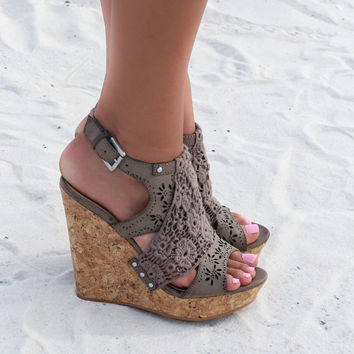 NOT RATED Candace Taupe Cork Wedge