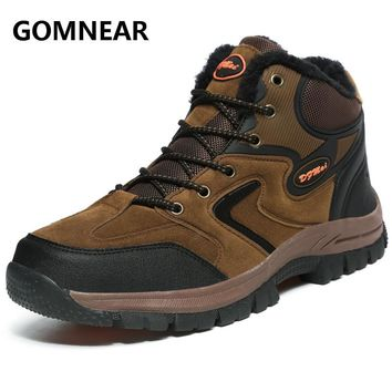 GOMNEAR Winter Men's Warming Hiking Shoes Outdoor Non-Slip Mountain Climbing Shoes Trekking Hunting Boot Sports Sneakers Male