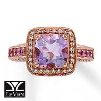 Cushion-Cut Amethyst Ring 1/5 ct tw Diamonds  14K Gold