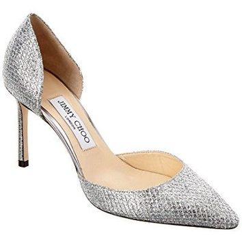 Jimmy Choo Esther 85 Glitter Fabric D'Orsay Pump, 37, Metallic