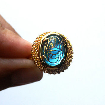 Aqua Blue Scarab Ring Vintage Glass Cabochon with by RinVinJewelry