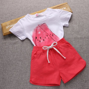 New Kids Girl Casual Print Short Sleeve Tops And Shorts Sets Cute Leisure Sports Slim Outfit Sets 1-7Y