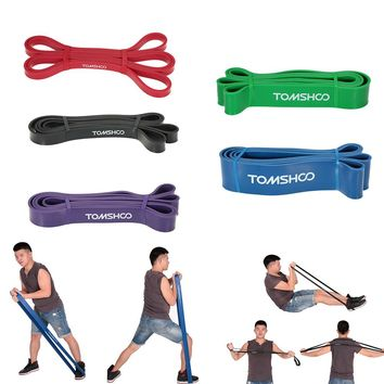 TOMSHOO Fitness Resistance Bands 208cm Natural Latex Pull Up Band Cross Fit Loop Bodybuilding Yoga Exercise Fitness Equipment
