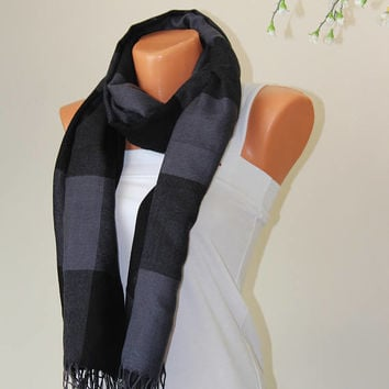 Black Gray Scarf Infinity Scarf trend Scarf wedding Gift For Her Women Circle Scarf Nordic Scarf Fall Winter Fashion Accessory pashmina