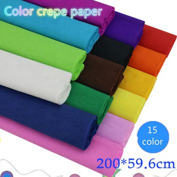 Free shiping 15pcs 15 color optional high quality handmade DIY color crepe paper wrapping paper art paper color rich no smell