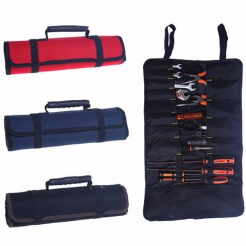 Waterproof Roll-feed Portable 600D Oxford Fabric Canvas Tool Bag Storage Plier Wrench Electrician