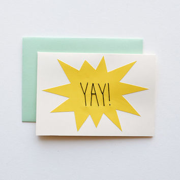 YAY - Hand Stitched Note Card with Envelope