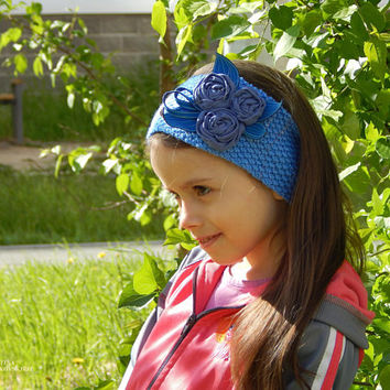 Knitted headband for hair. Textile decoration. Hair band. Hairpin. Headband for the girl. Blue headband. Knitted headband.