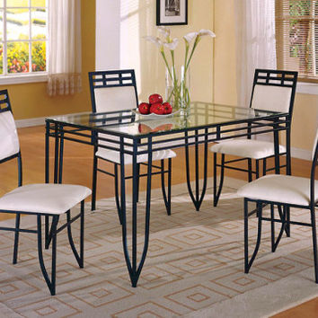 Black and White Dinette, Glass Top   Matrix Five Piece Dining Set   American Freight