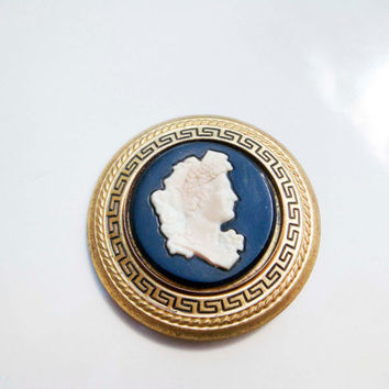 Vintage Gold Black Cameo Greek Key Brooch Pin Victorian Style