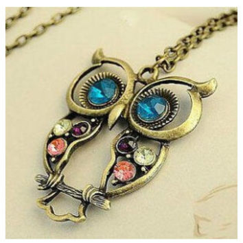 Hollowed Carved Cute Owl Necklace
