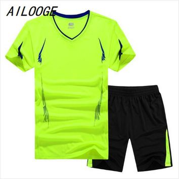 AILOOGE 2017 Summer Men Set Sporting Suit Short Sleeve T Shirt+Shorts Quick 2 Piece Set Sweatsuit Casual Male Tracksuit Clothing