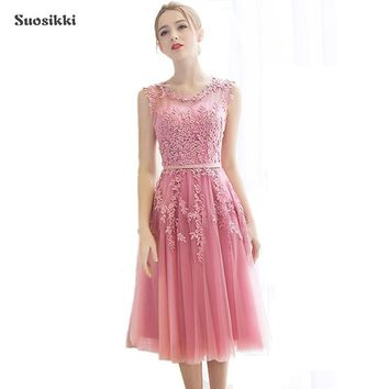 Suosikki 2017 Robe De Soiree Red Pink Blue Lace Slit Short Evening Dresses women luxury Formal Gown Prom Dresses robe rouge